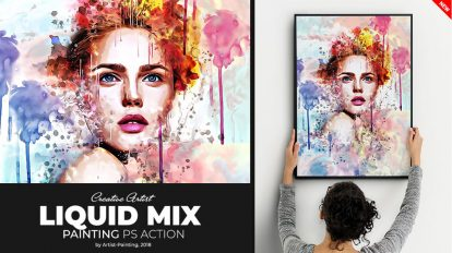 اکشن فتوشاپ افکت نقاشی آبرنگ Liquid Mix Painting