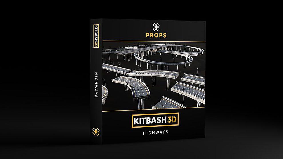 مجموعه مدل سه بعدی اجزای اتوبان Kitbash3D Props Highways