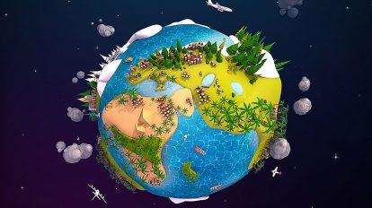 مجموعه مدل سه بعدی کارتونی کره زمین با استایل Low Poly