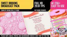 پروژه افترافکت اجزای برودکست تلویزیونی Sweet Ribbons Pack