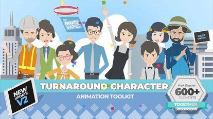 پروژه افترافکت جعبه ابزار انیمیشن کاراکتر Turnaround Character Toolkit