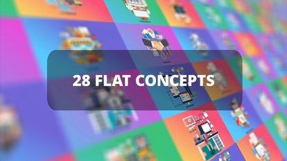 پروژه افترافکت مجموعه کانسپت فلت برای کسب و کار Business Flat Concepts