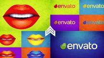 پروژه افترافکت نمایش لوگو با لب رنگی Warhol Lips Opener