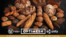 مجموعه مدل سه بعدی نان و کیک و شیرینی Baked Pastries Bread Buns Rolls