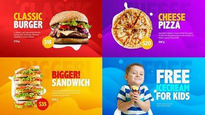 پروژه افترافکت تیزر تبلیغاتی منوی غذا Food Menu Promo