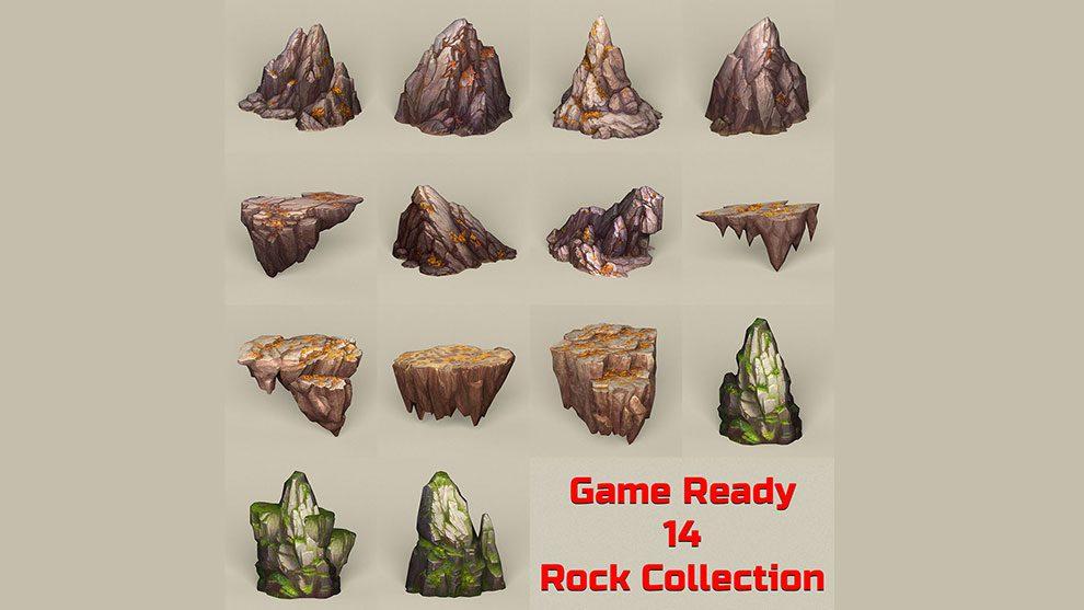 مجموعه مدل سه بعدی سنگ Game Ready Stone Rocks