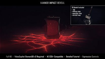 پروژه افترافکت نمایش لوگو با برخورد چکش Hammer Impact Reveal