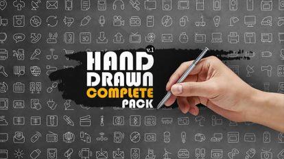 پروژه افترافکت مجموعه انیمیشن آیکون دستی Hand Drawn Complete Pack