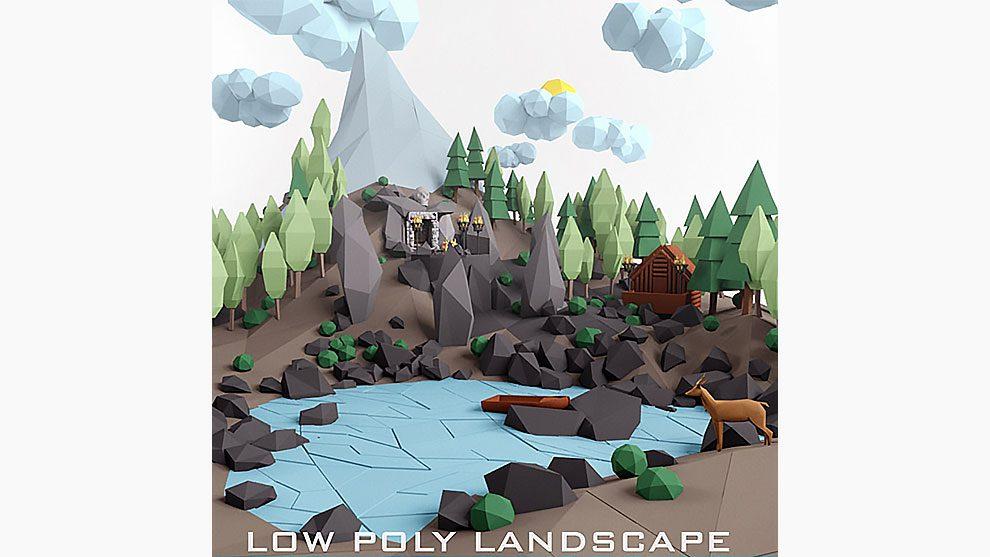 مجموعه مدل سه بعدی مناظر طبیعی با استایل Low Poly