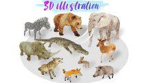 مجموعه مدل سه بعدی حیوانات آفریقا Africa Animal