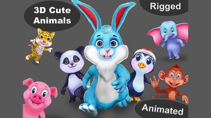 مجموعه مدل سه بعدی کارتونی حیوانات Animal Pack