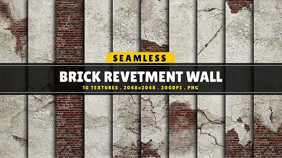 مجموعه تکسچر دیوار با پوشش آجری Brick Revetment Wall