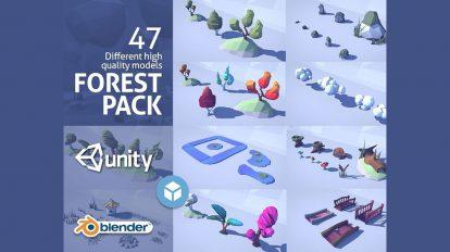مجموعه مدل سه بعدی اجزای جنگلی با استایل Low Poly
