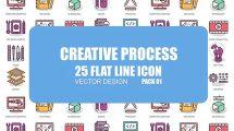 پروژه افترافکت مجموعه انیمیشن آیکون فلت فرآیند خلاقانه