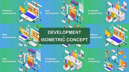 پروژه افترافکت مجموعه کانسپت ایزومتریک Digital Development Isometric