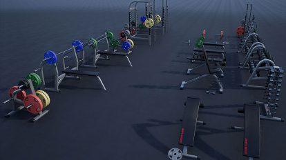 مجموعه مدل سه بعدی تجهیزات بدنسازی Gym Props Pack 01