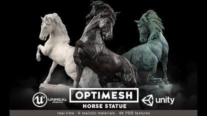 مجموعه مدل سه بعدی مجسمه اسب Horse Statue