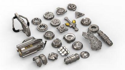 مجموعه مدل سه بعدی جزییات تکنولوژی و صنعتی