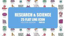 پروژه افترافکت مجموعه انیمیشن آیکون فلت علم و تحقیقات
