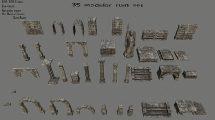 مجموعه مدل سه بعدی سنگ و مخروبه Ruin Set 1