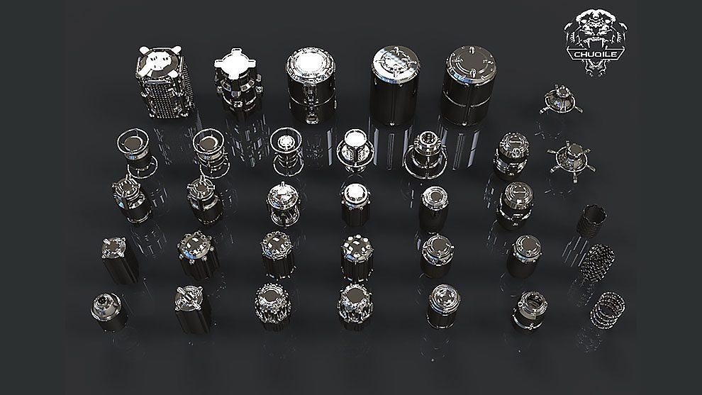 مجموعه مدل سه بعدی اجسام استوانه ای Sci-Fi Cylinder