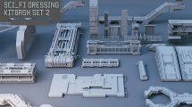 مجموعه مدل سه بعدی اجزا و قطعات Sci-Fi Dressing Kitbash Set 2