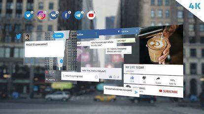 پروژه افترافکت اجزای شبکه اجتماعی Social Media Pack