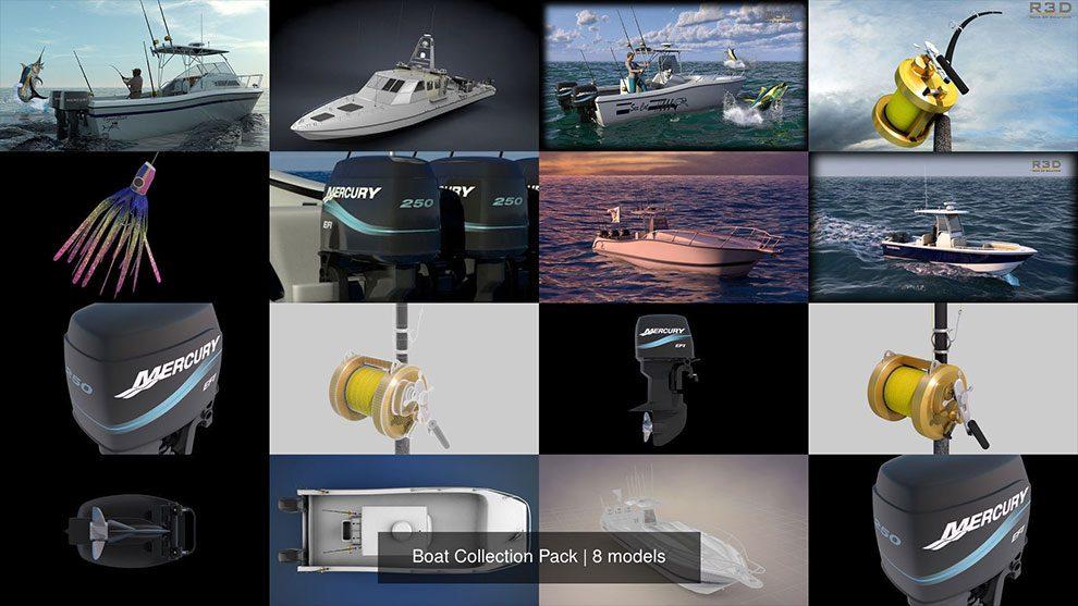 مجموعه مدل سه بعدی قایق Boat Collection Pack