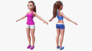 مدل سه بعدی کارتونی دختر بچه Cartoon Sport Girl 2