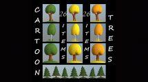 مجموعه مدل سه بعدی کارتونی درخت به سبک Low Poly