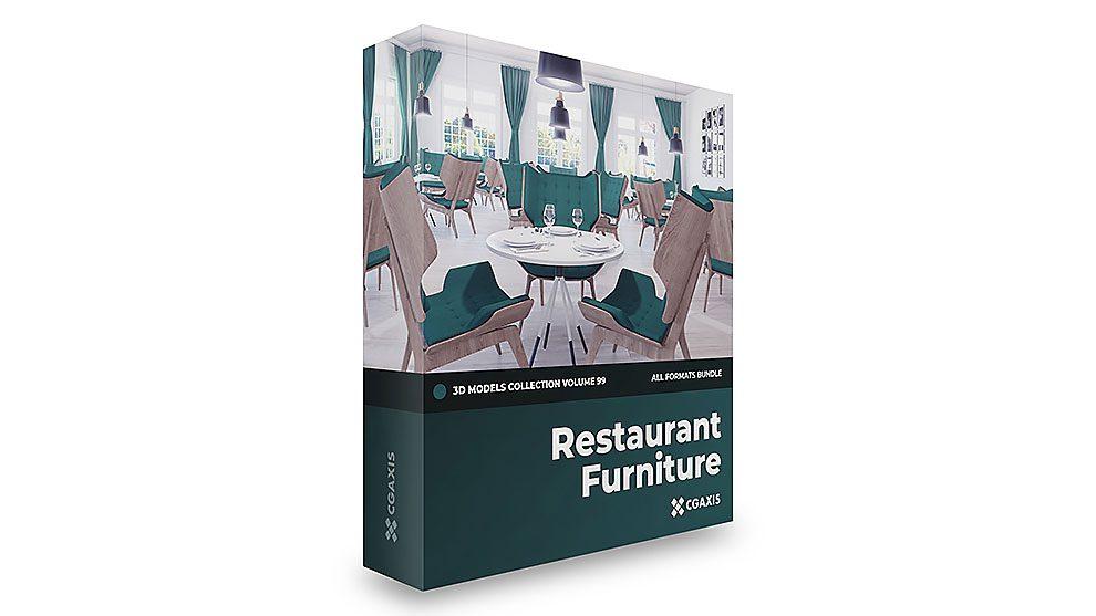 مجموعه مدل سه بعدی مبلمان رستوران CGAxis Models Volume 99