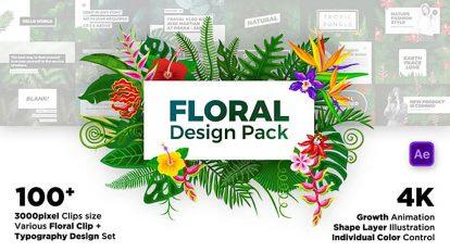 پروژه افترافکت مجموعه اجزای گل دار Floral Design Pack