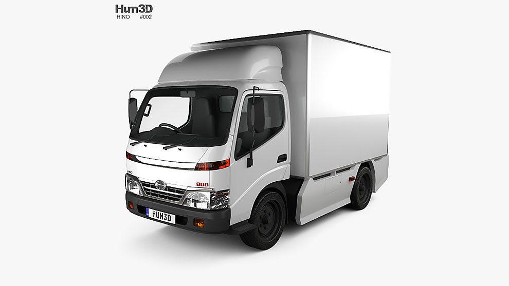مدل سه بعدی کامیون حمل بار Hino 300 Standard Cab Box