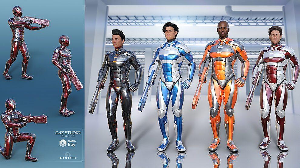 مدل سه بعدی لباس نظامی پیشرفته Leviathan Suit for Genesis 8 Male