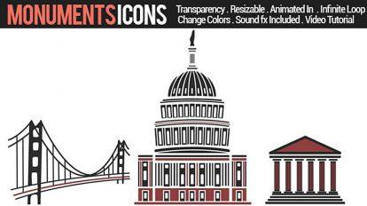 پروژه افترافکت مجموعه انیمیشن آیکون بناهای تاریخی Monuments Icons