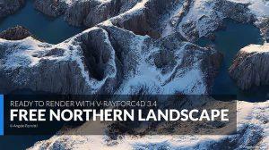 صحنه آماده سه بعدی منظره شمالی برای سینمافوردی Northern Landscape