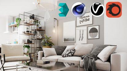 صحنه آماده سه بعدی خانه به سبک اسکاندیناوی Scandinavian Small House