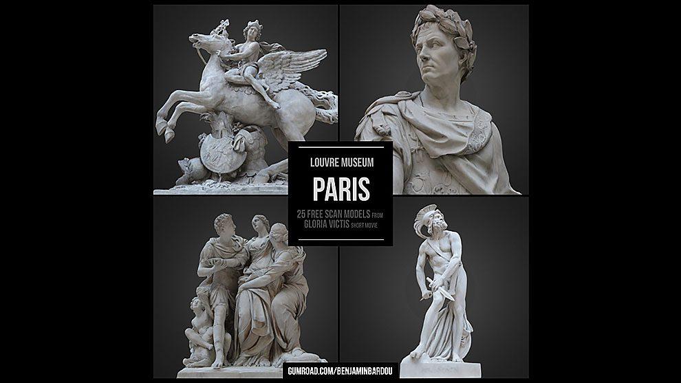 مجموعه مدل سه بعدی مجسمه های موزه لوور