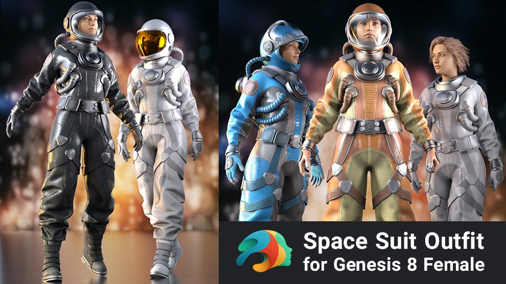 مدل سه بعدی لباس فضانورد زن Space Suit Outfit for Genesis 8 Female