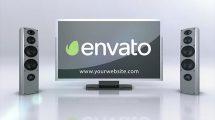 پروژه افترافکت نمایش لوگو با سیستم سینما خانگی TV Speakers Logo Intro