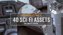 مجموعه مدل سه بعدی اجزای علمی تخیلی 3D Kitbash Set Sci-Fi Assets