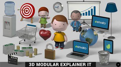 پروژه افترافکت مجموعه اجزای ساخت تیزر تبلیغاتی 3D Modular Explainer Kit