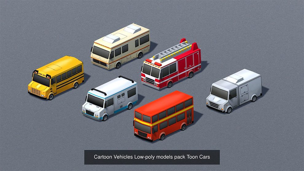 مجموعه مدل سه بعدی کارتونی وسایل نقلیه Cartoon Vehicles Mega Pack