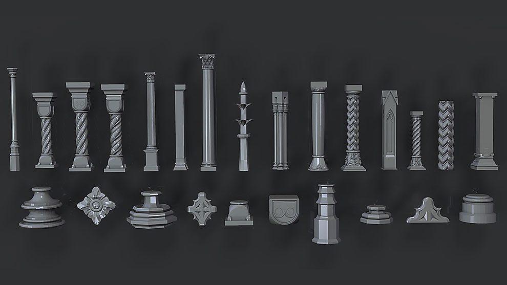 مجموعه مدل سه بعدی ستون Collection Pillar Low Poly