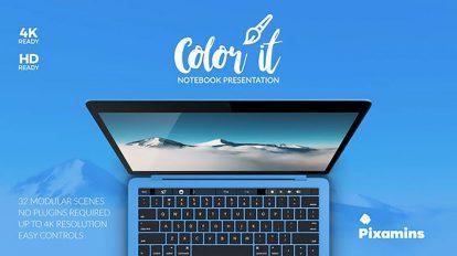 پروژه افترافکت پرزنتیشن روی لپ تاپ Color It Notebook Presentation