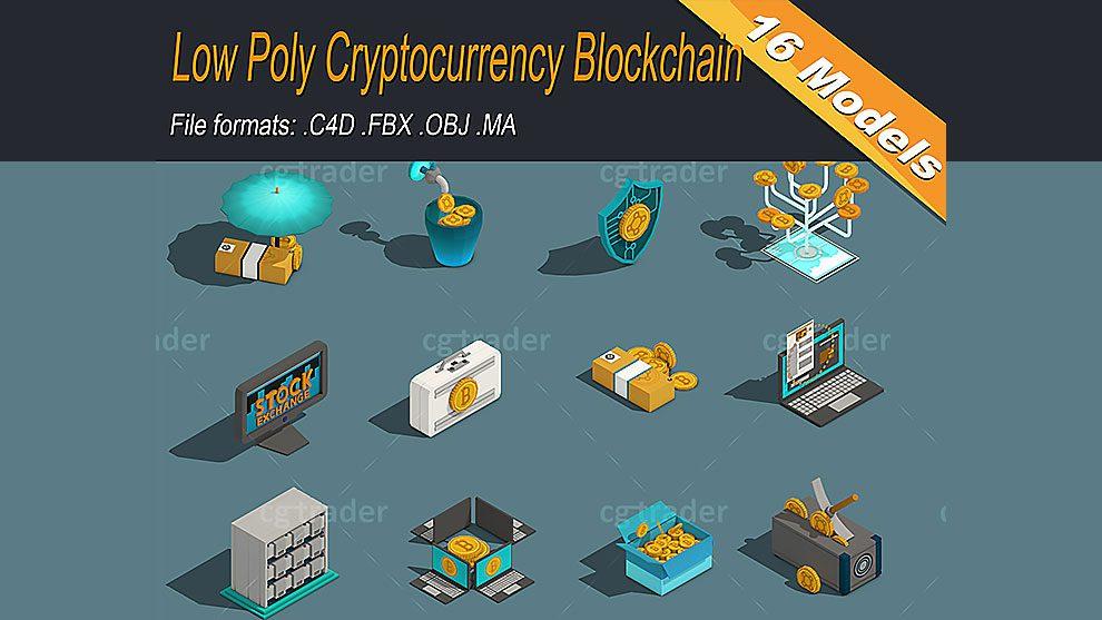 مجموعه مدل سه بعدی ارز دیجیتال بلاک چین Cryptocurrency Blockchain