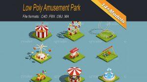 مجموعه مدل سه بعدی پارک و تفرجگاه Low Poly Amusement Park
