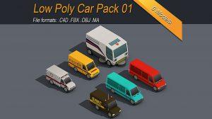 مجموعه مدل سه بعدی خودرو ایزومتریک Low Poly Car Pack 01