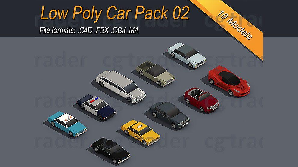 مجموعه مدل سه بعدی خودرو ایزومتریک Low Poly Car Pack 02