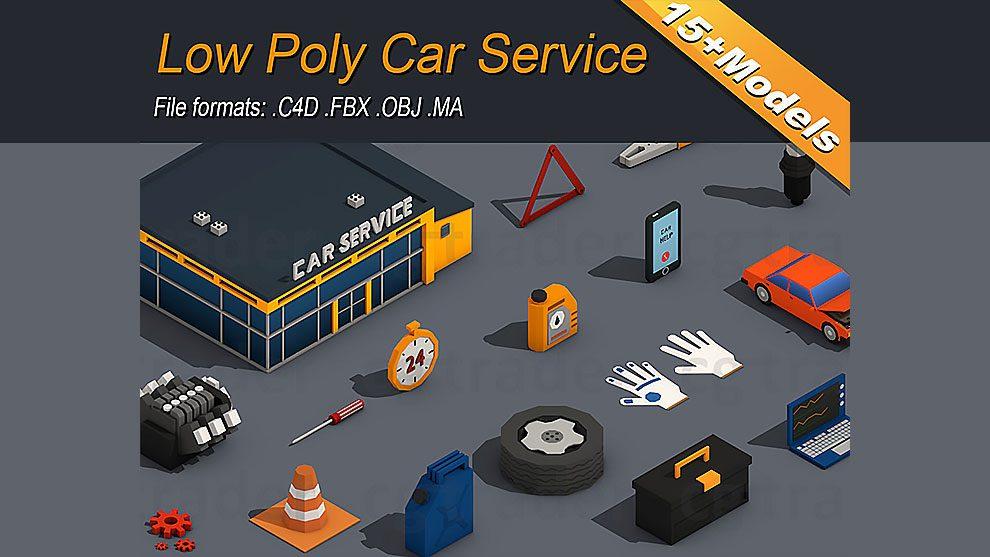 مجموعه مدل سه بعدی تعمیرگاه خودرو Low Poly Car Service